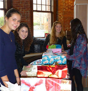 Students working at the holiday toy drive.