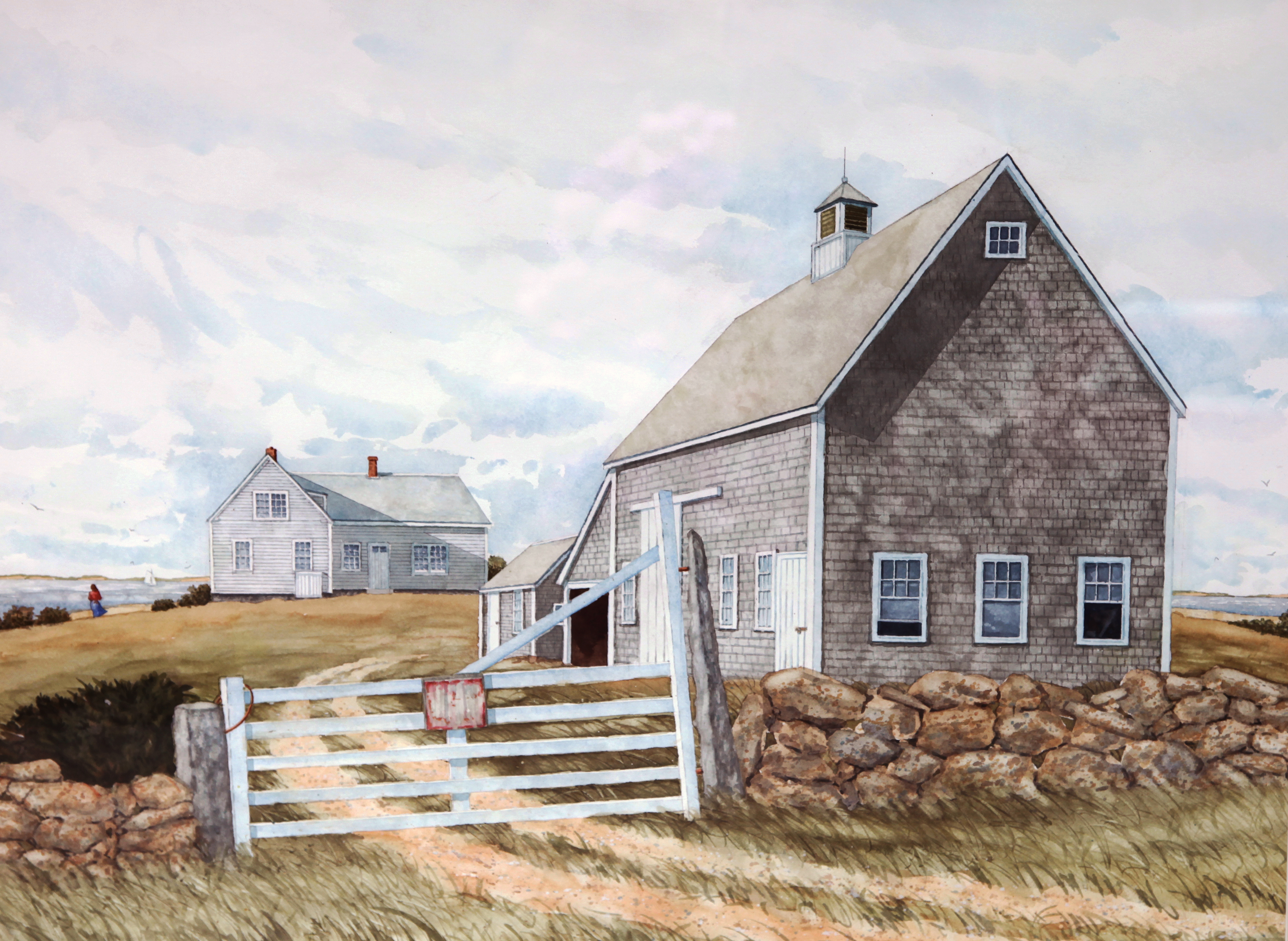 A painting of a house and gate