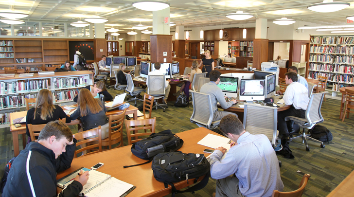 Students studying in the Southworth Library