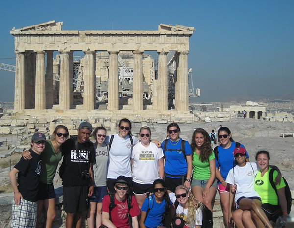 Students visiting the Parthenon