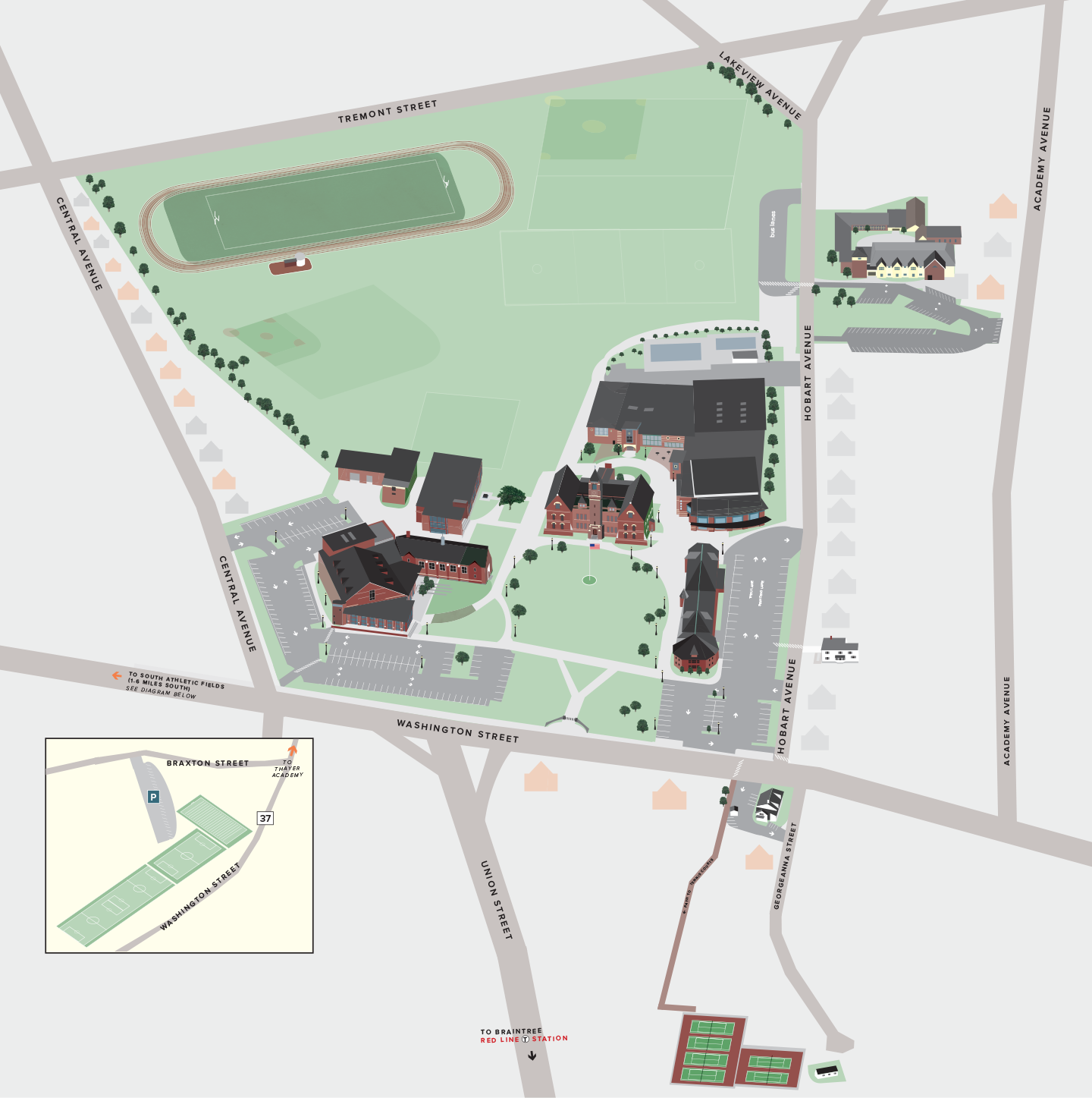 Hobart Campus Map.Campus Map Directions Thayer Academy