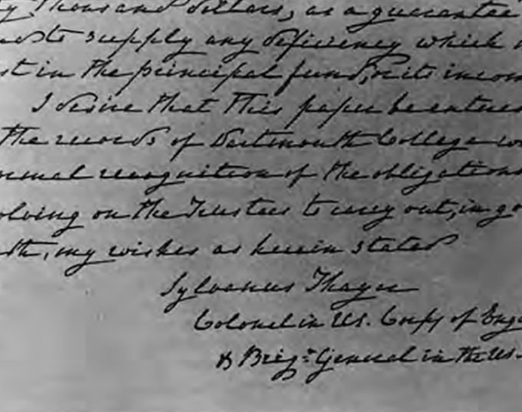 General Sylvanus Thayer's handwritten will