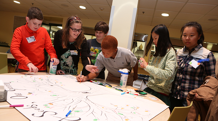 Students work on a poster for a Middle School club
